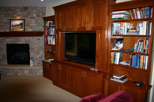 Kuechle Construction Company | New Construction Project Roseville Minnesota | Lower Level Living Room Entertainment Center